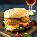 Pimento Cheeseburger with Fried Green Tomatoes
