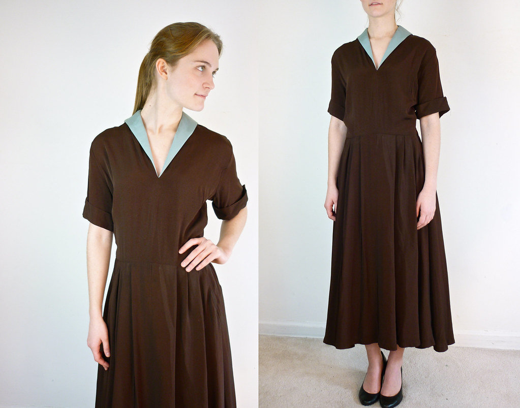 1940s Plus Size Dress | Vintage 1940s dress in chocolate bro ...