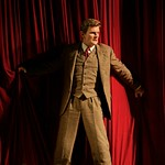 Dashing everyman Richard Hannay (Edwards) finds himself on the run for his life in the Huntington Theatre Company's pre-Broadway American premiere production of Alfred Hitchcock's