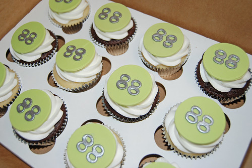 white green and silver 88th birthday cupcakes - cupcake tower