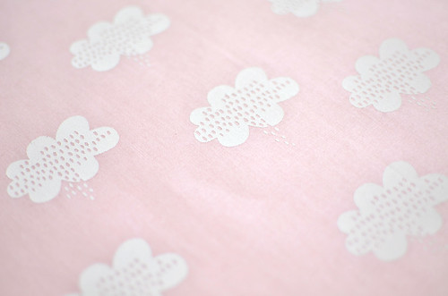 stormy weather in alabaster on soft pink quilting cotton
