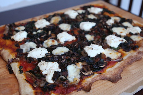 Pizza with Ramps, Mushrooms, and Ricotta