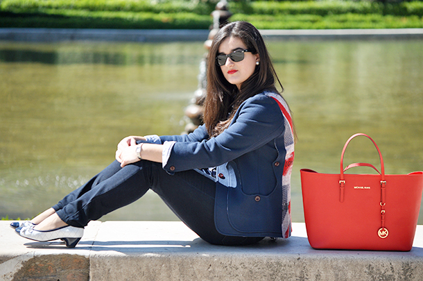 madrid palacio real fashion blogger spain, something fashion ralph lauren vilagallo blazer michael kors tote bag, traveling outfit casual college outfit