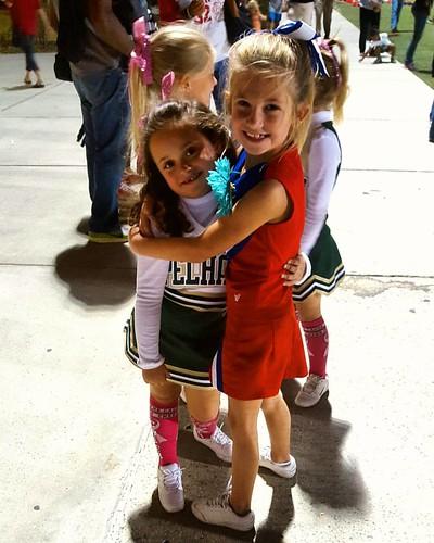 Cousin/BFF Love!! #cheerleading #vestaviahillsrebels #vestaviahills #littlerebels #pelhampanthers #pelham #lovethesekids