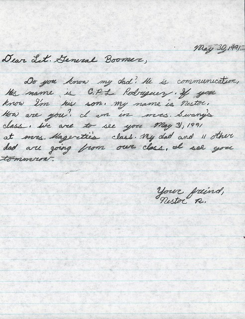 Letter Addressed To Lt General Boomer 30 May 1991