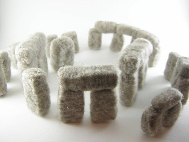 Woolhenge a needle felted stonehenge