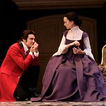 Valmont's (Michael T. Weiss) seduction of the virtuous Tourvel (Yvonne Woods) has an inauspicious beginning in the Huntington Theatre Company's production of