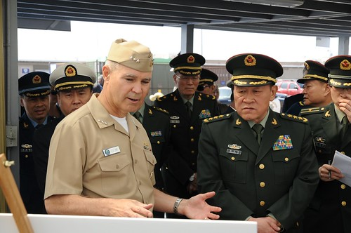 Vice Adm. Richard Hunt discusses humanitarian efforts conducted by US Navy with Chinese Minister of Defense Gen. Liang Guang