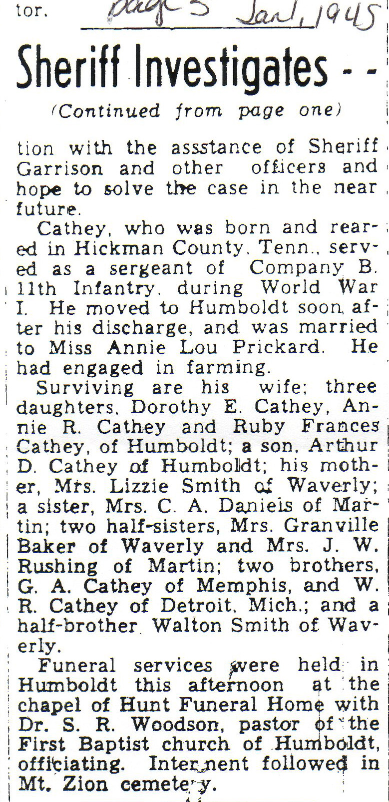 Acra Archie Cathey Death Jan. 1, 1945