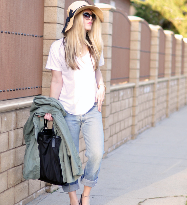 jeans and a white t shirt - sun hat- bag and anorak