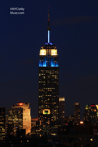 Empire State Building dressed in Blue & White for National Trust for Historic Preservation and Partners in Preservation