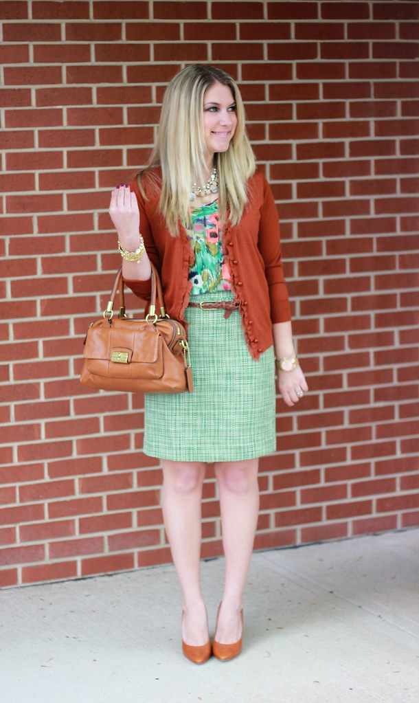 Green, Rust, and Floral Teacher Outfit