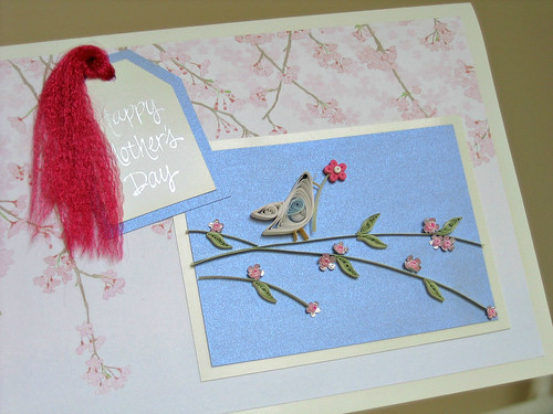 Quilled Mother's Day card with bird on a cherry blossom branch
