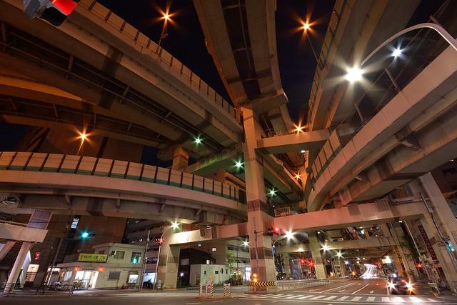 箱崎ジャンクション_夜景_広角レンズで撮影