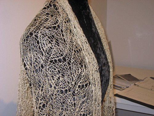 Knitted lace shawl in handspun Muga silk: On Eagle's Wings