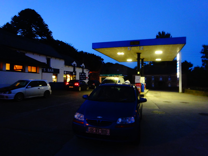 Getting gas at twilight