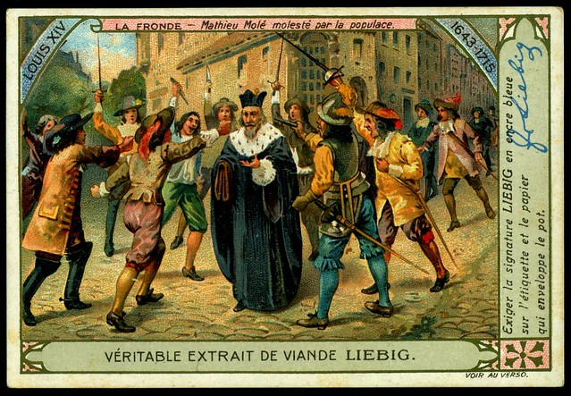 Liebig Tradecard S1007 - Mathieu Molé is threatened by the mob