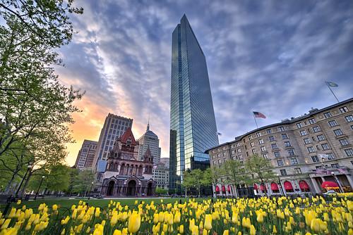 new city flowers england usa sun color colour church boston clouds sunrise buildings ma spring tulips massachusetts hdr copleysquare nikond800