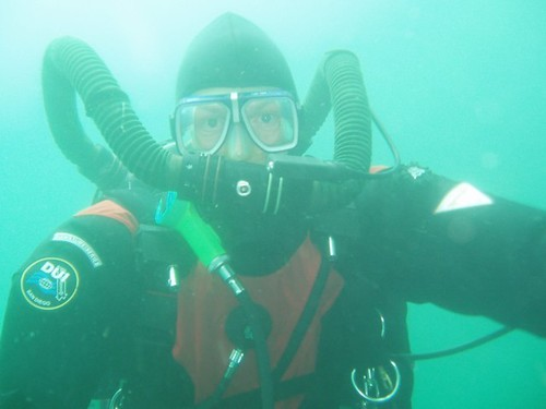 Phill diving with the new Ouroborous Re-Breather
