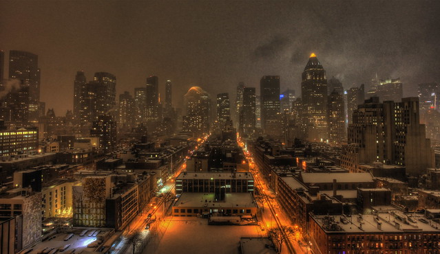 A heavy Blizzard over Midtown Manhattan