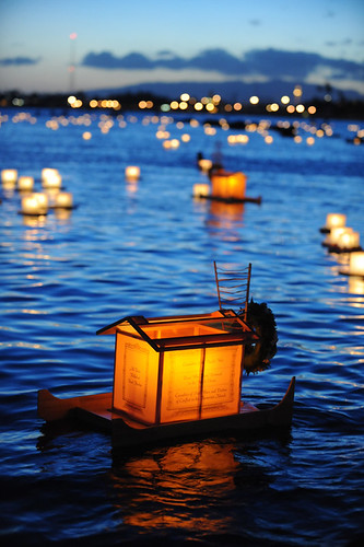Large lantern at Hawaiian boat style with many prayers