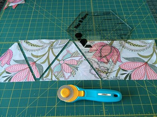 Super easy to cut triangles with the Hex and More template from Jaybird Quilts!!