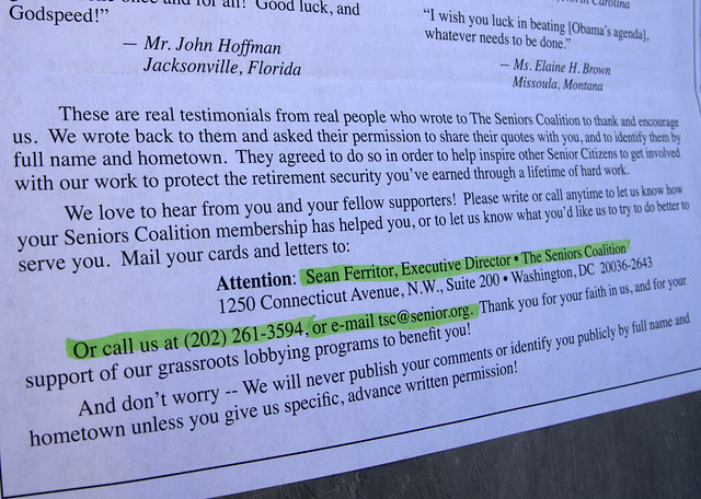 The Seniors Coalition junk mail