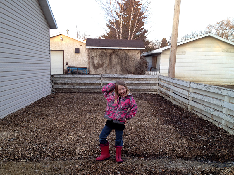 Liliana and the snow-free garden