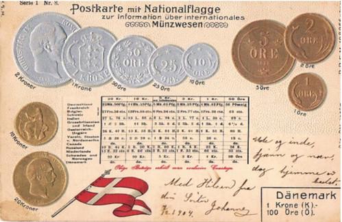 Denmark coin postcard 1904