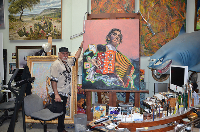 Gilbert Duran in his studio