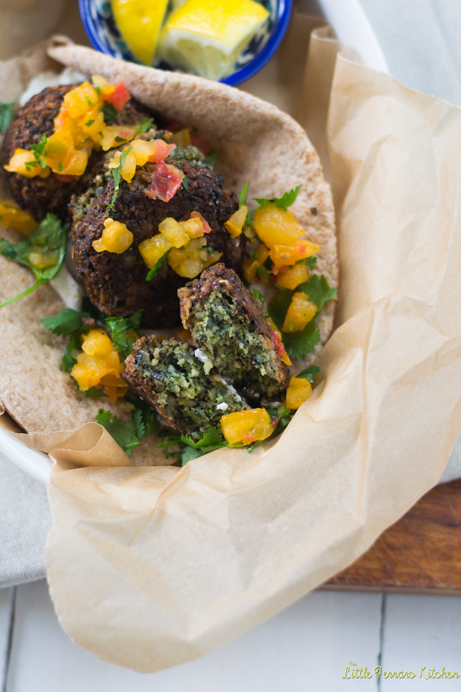 Black Bean Falafel with Heirloom Tomato Salsa via LittleFerraroKitchen.com