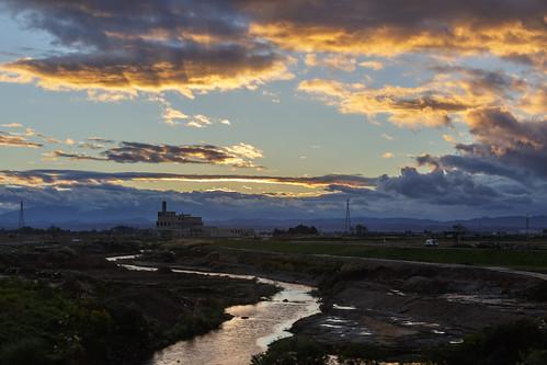 山形縣 新幹線 jp japan 日本 隨拍 夕陽 sunset 夕景 6d 河川 光映 霞光 5014 ef50mmf14usm
