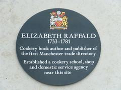 Photo of Elizabeth Raffald black plaque