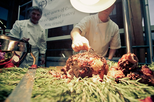 The Excelsior Inn & Restaurant Serving up Leg of Lamb Seasoned with Olivetta, Carved & Placed on Polenta topped with Salsa Verde & Polenta Cake topped with Excelsior Farm Caponata and Peperonata