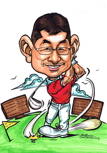golf caricature for Singapore Armed Forces (SAF)