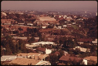 Development near Mulholland Drive in the Santa Monica Mountains near Malibu, California, which is located on the western edge of Los Angeles, May 1975