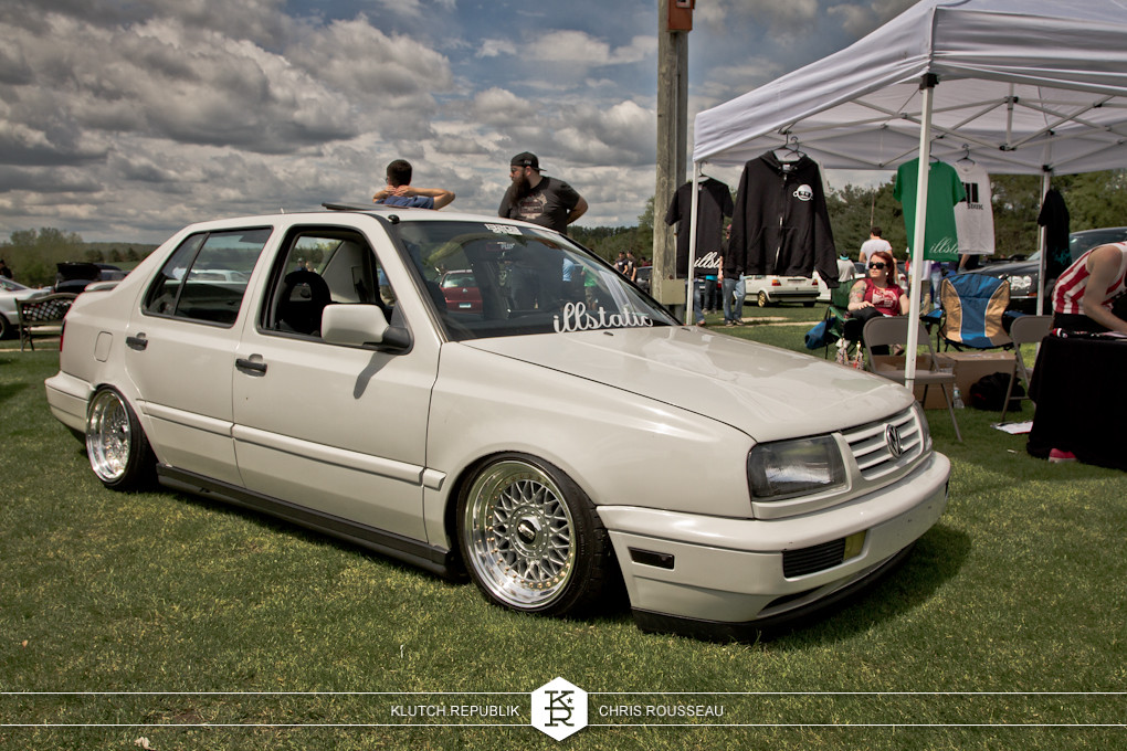 white mk3 vw jetta low and fitted on bbs rs wheels at staggered 2012