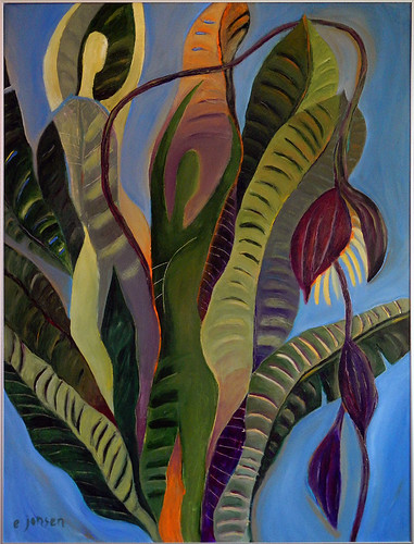 banana palm painting on masonite
