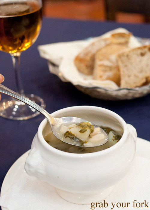 Caldo Gallega Galician soup at Casa Elisa Restaurant in Santiago de Compostela, Spain