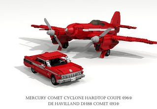De Havilland DH88 Comet (1934) and Mercury Comet Cyclone Hardtop Coupe (1964)