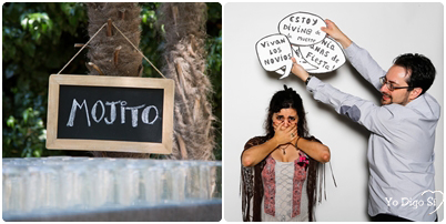 mojito y photocall boda indie