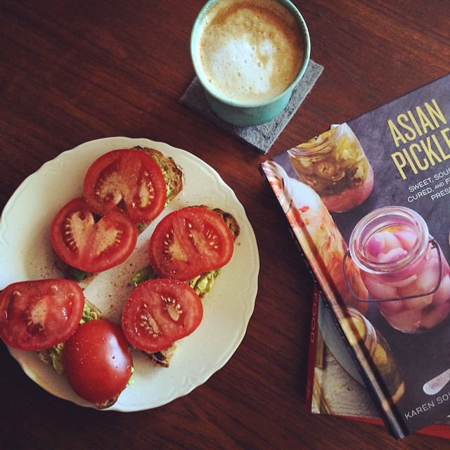 Friday brunch and reading material. Asian Pickles by @bolognarose is officially out next week!