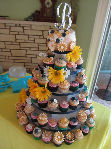 Blue and Yellow Daisy-themed Wedding Cupcake Tower