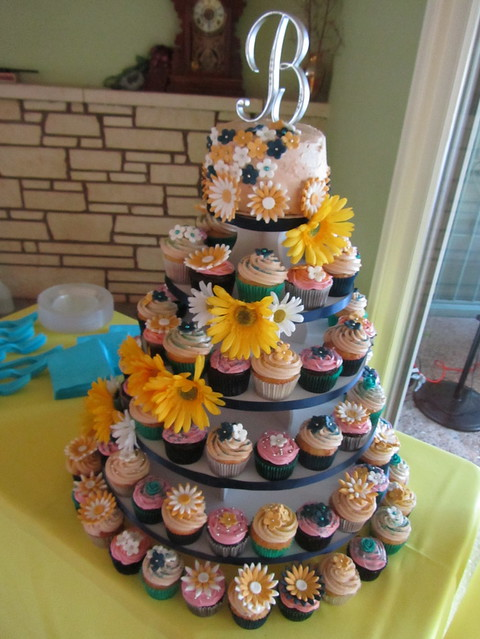 Blue and Yellow Daisythemed Wedding Cupcake Tower