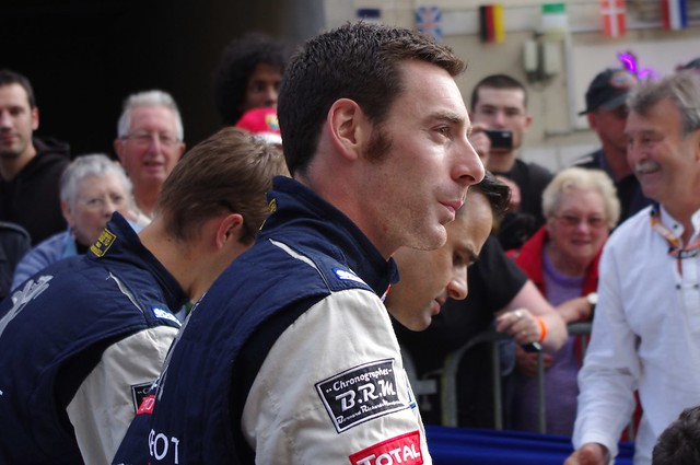 Simon Pagenaud, Pedro Lamy and Sebastien Bourdais Drivers of Team Peugeot Total's Peugeot 908 from Flickr via Wylio