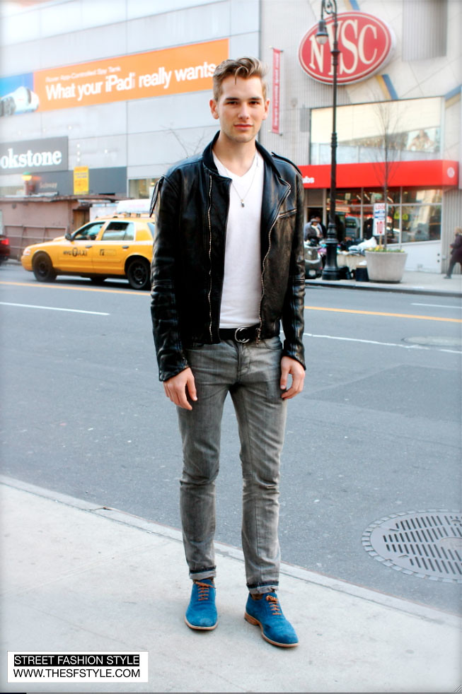 BlueSeudeShoes2 new york, nyc, upper east side, blue suede shoes, man morsel monday, street fashion style, leather jacket,