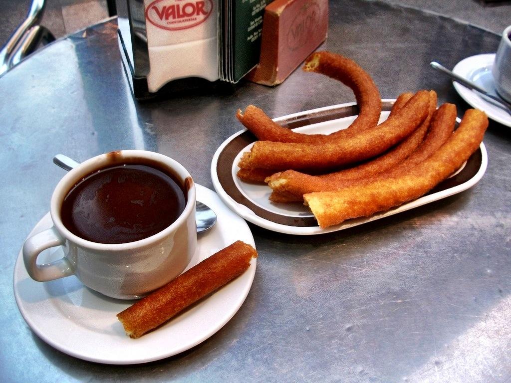 Churros con chocolate in Spain