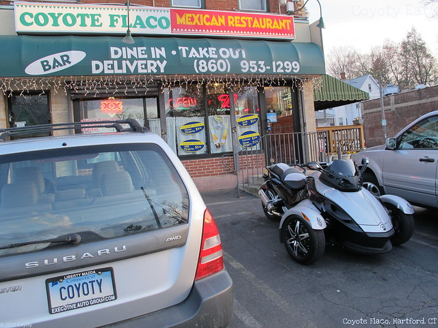 Coyote Flaco exterior, my car, and a Can-Am Spyder