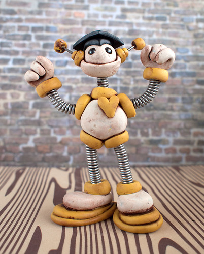 Graduation Grungy Bot Yellow Yale Mini Sculpture by HerArtSheLoves