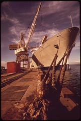 Unloading supplies for the islands at Honolulu pier, October 1973